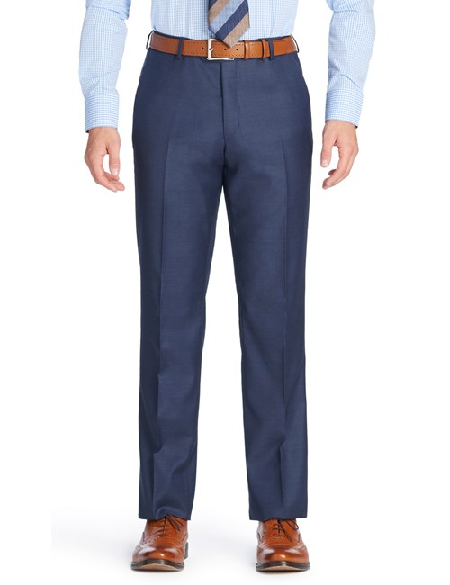 Men's Mid Blue Pique Tailored Fit Italian Suit Trousers - 1913 Collection