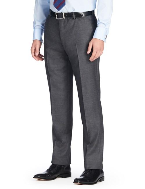 Men's Plain Charcoal Grey Pique Slim Fit Pants - 1913 Collection