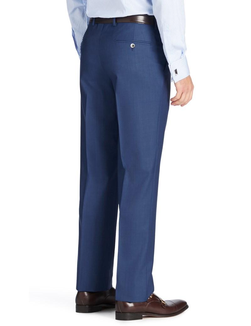 Men's Royal Blue Sharkskin Slim Fit Suit Pants