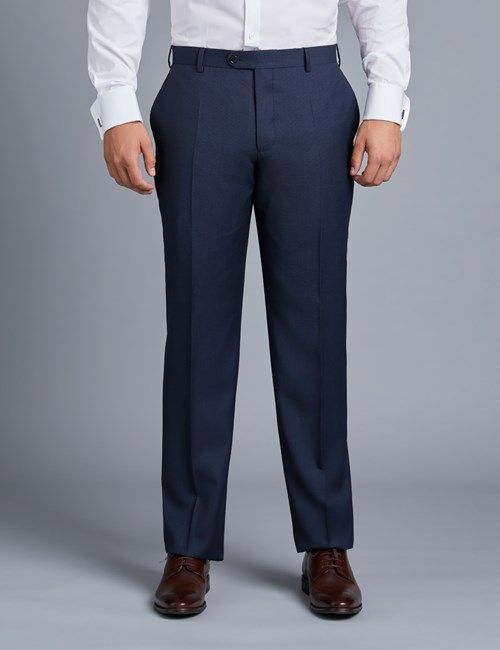 Men's Navy Birdseye Classic Fit Suit Pants