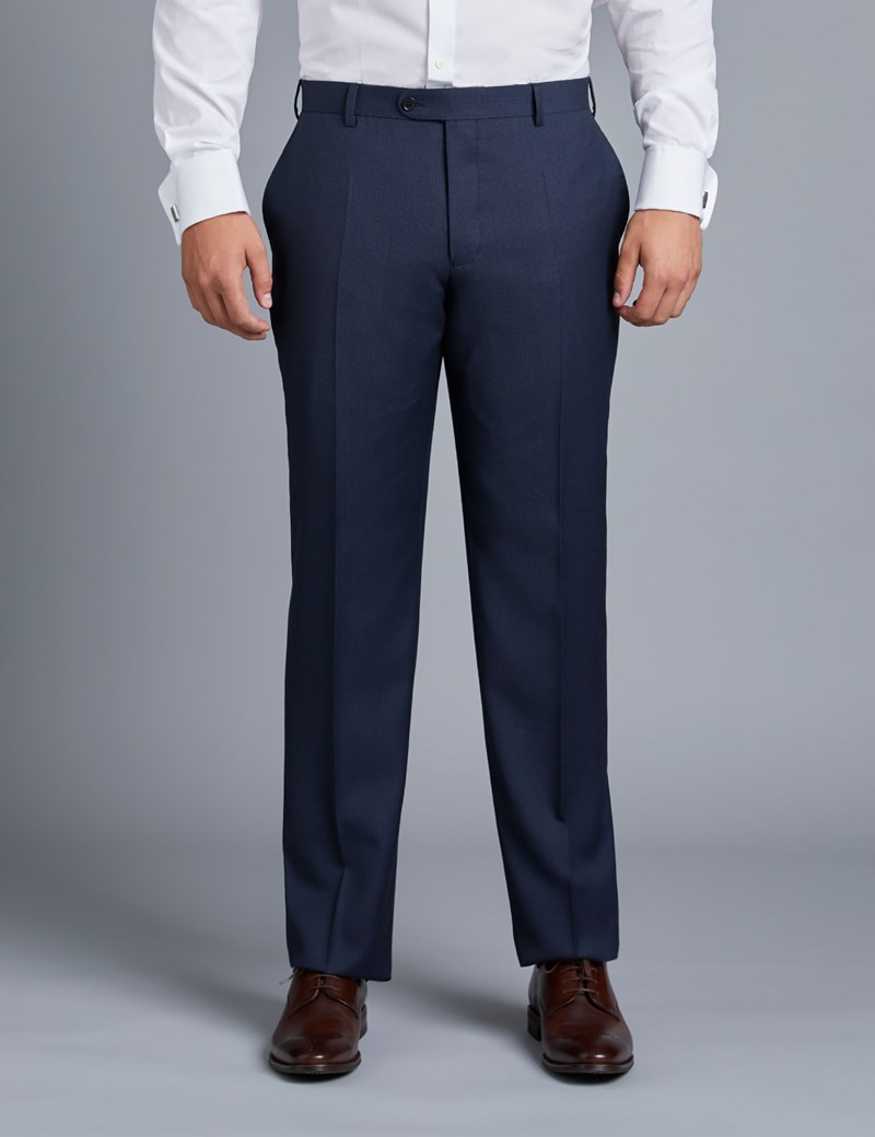 Men's Navy Birdseye Classic Fit Suit Trouser