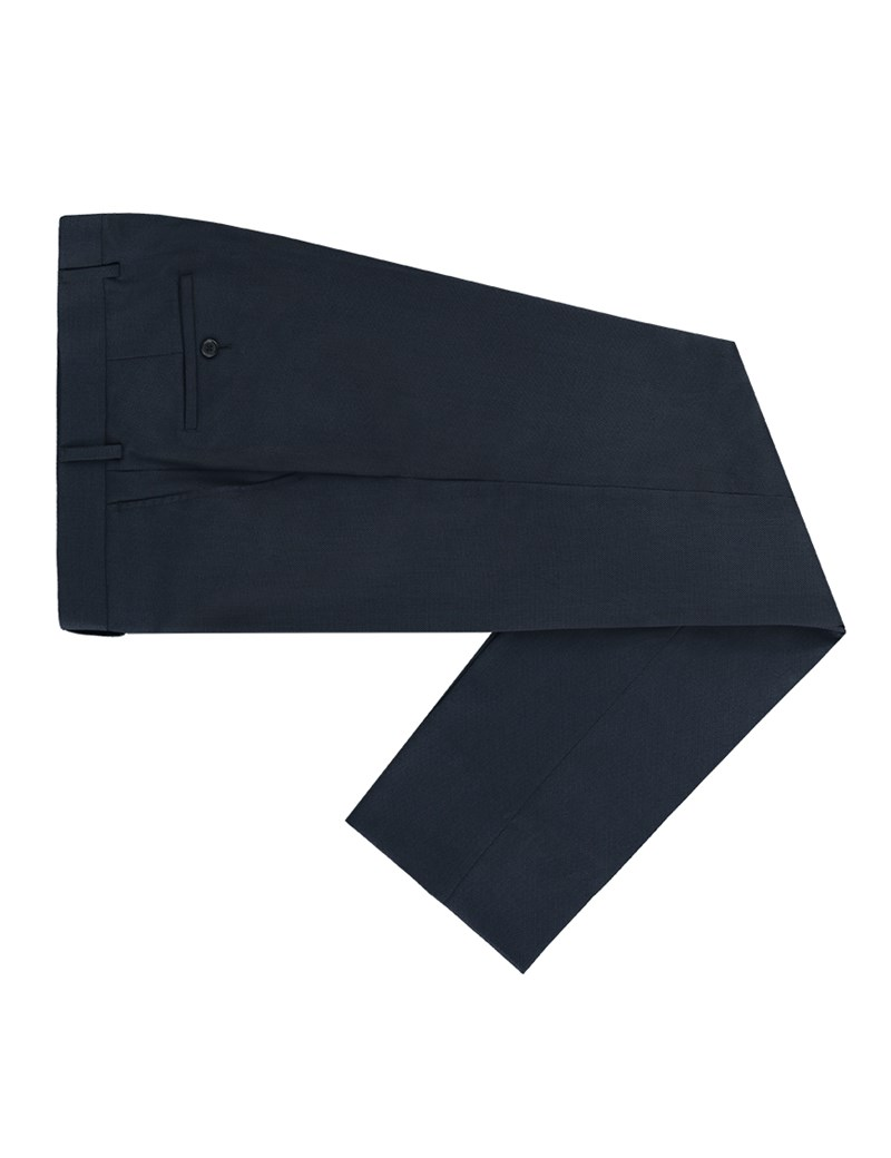 Men's Navy Birdseye Slim Fit Suit Trouser