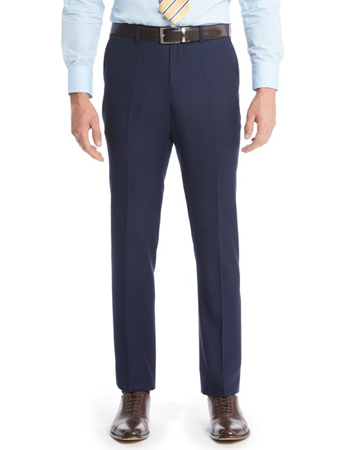 Men's Navy Textured  Slim Fit Suit Trousers