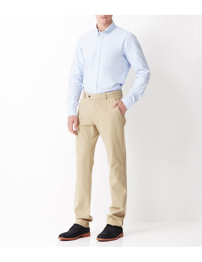 Men's Beige Garment Dye Classic Fit Chinos