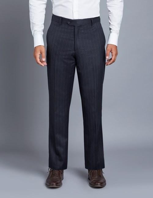 Men's Navy Chalk Stripe Italian Suit Trousers - 1913 Collection