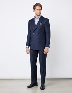 Men's Navy Tonal Stripe Tailored Fit Italian Suit Pants - 1913 Collection