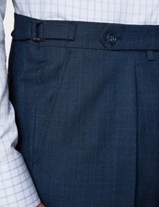 Men's Dark Blue Striped Italian Wool Herringbone Suit Trousers – 1913 Collection
