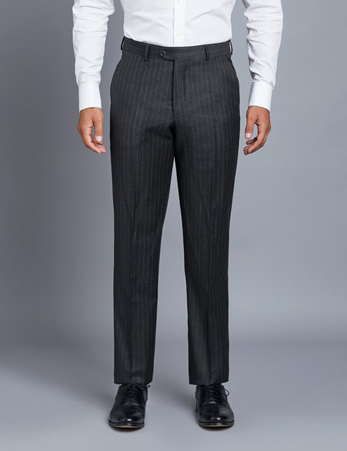 Men's Charcoal Stripe Tailored Fit Italian Suit Trousers - 1913 Collection