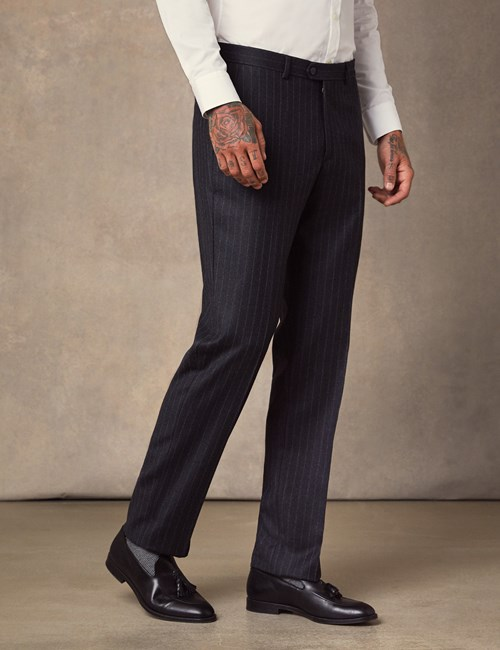 Men's Charcoal Chalk Stripe Tailored Fit Italian Suit Trousers - 1913 Collection