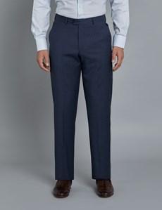 Men's Dark Blue Tonal Stripe Tailored Fit Italian Suit Trousers - 1913 Collection