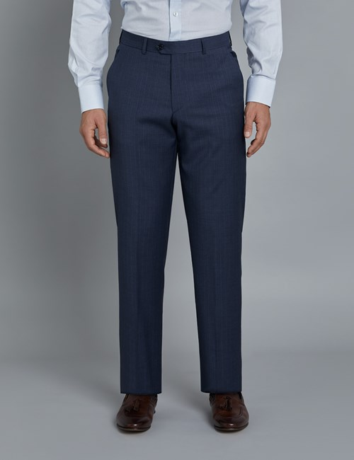 Men's Dark Blue Tonal Stripe Tailored Fit Italian Suit Trousers - 1913 Collection