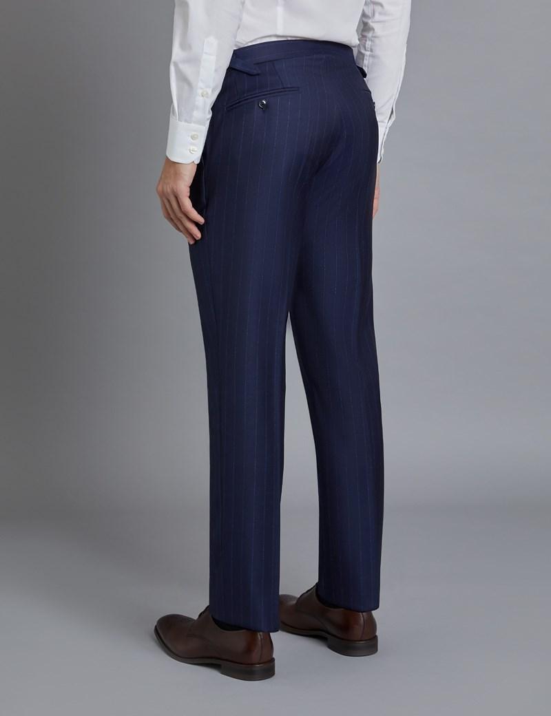 Anzughose   Slim Fit  Marineblau gestreift   110S Schurwolle   ohne Bundfalte   Vorderhose gefüttert   ungesäumt
