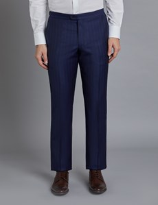 Men's Navy Wide Stripe Slim Fit Italian Suit Trousers - 1913 Collection