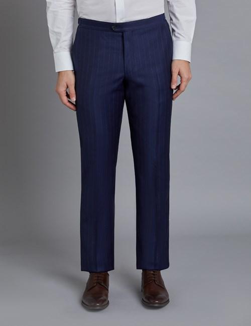 Men's Navy Wide Stripe Slim Fit Italian Suit Pants - 1913 Collection