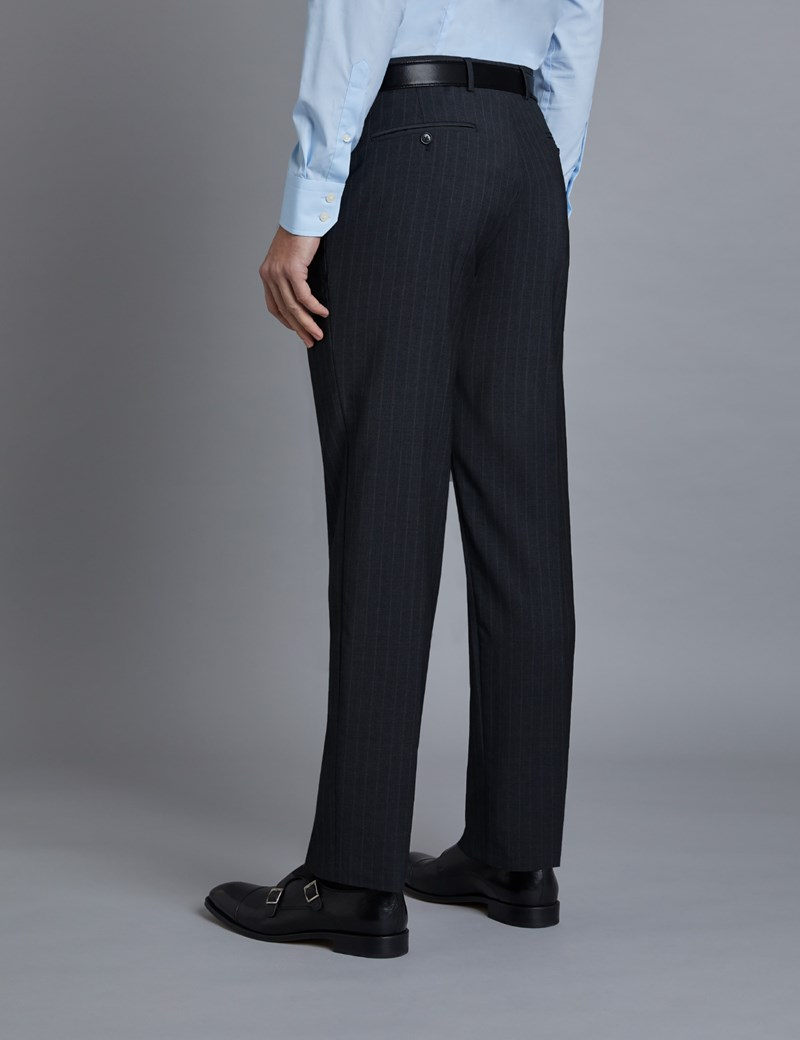 Men's Grey Tonal Stripe Tailored Fit Italian Suit Trousers - 1913 Collection