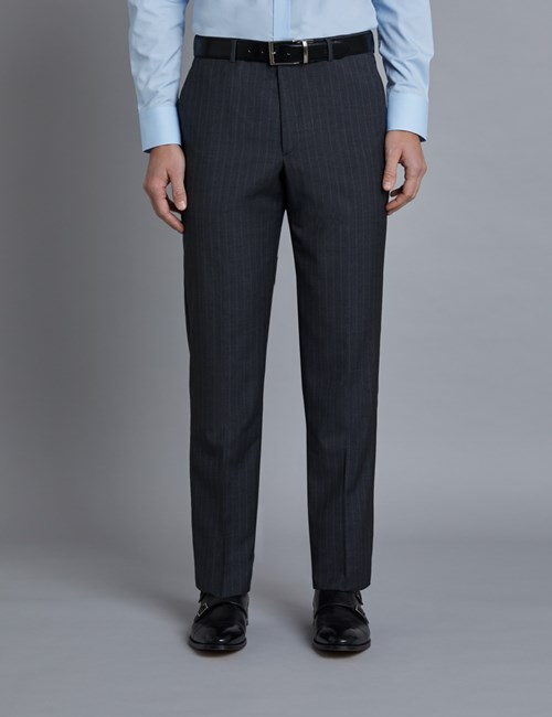 Men's Grey Tonal Stripe Tailored Fit Italian Suit Pants - 1913 Collection