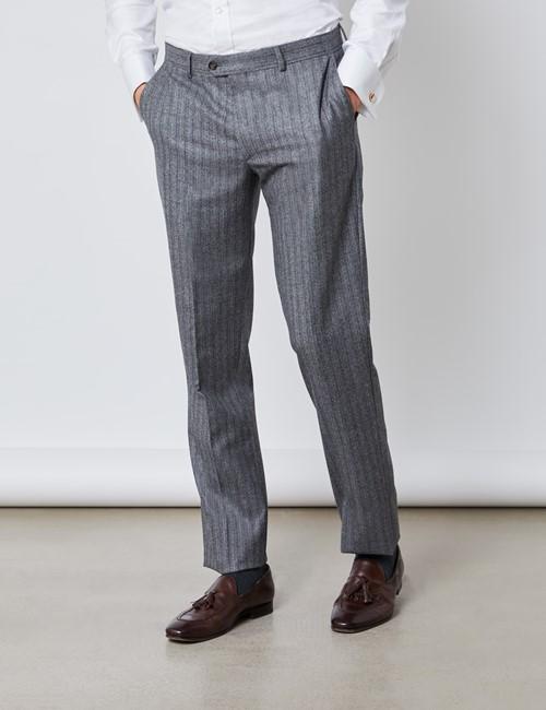 Men's Grey & Brown Herringbone Stripe Slim Fit Italian Suit Trousers – 1913 Collection