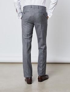Men's Grey & Brown Herringbone Stripe Slim Fit Italian Suit Pants – 1913 Collection