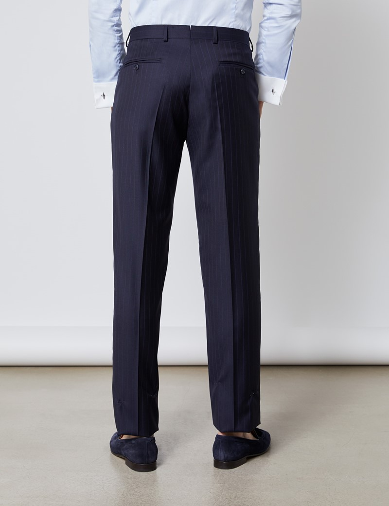 Men's Navy Tonal Stripe Tailored Fit Italian Suit Trousers - 1913 Collection