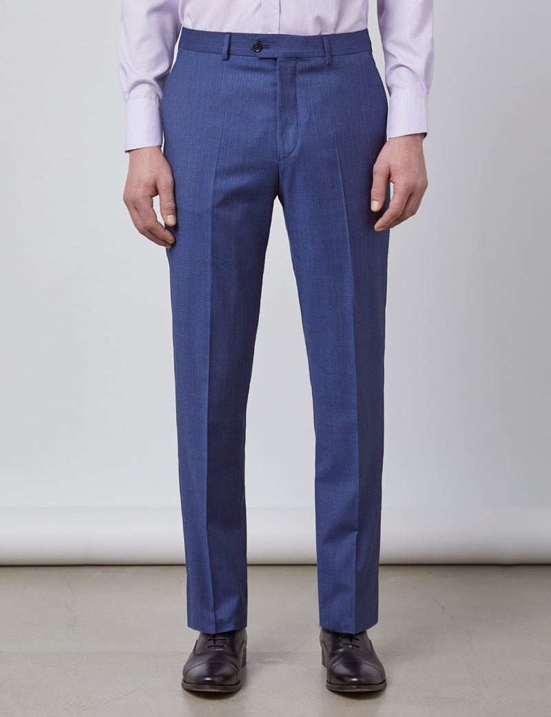 Men's Blue Stripe Tailored Fit Italian Suit Trousers - 1913 Collection
