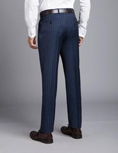 Anzughose - Slim Fit - Nadelstreifen dunkelblau - 100s Wolle - Ohne Bundfalte - Vorderhose gefüttert - Ungesäumt