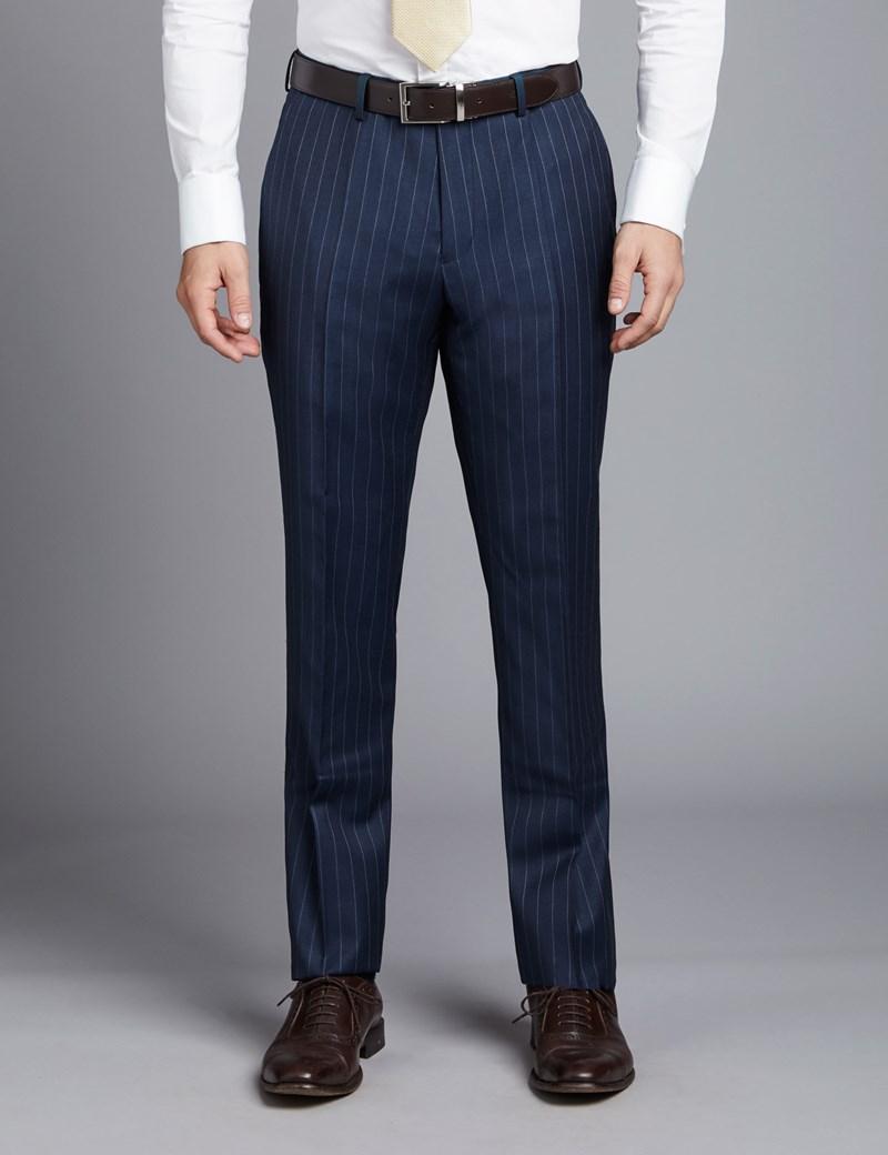 Men's Dark Blue Pinstripe Slim Fit Suit Trouser