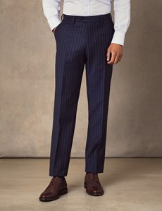 Men's Navy Chalk Stripe Slim Fit Suit Trousers