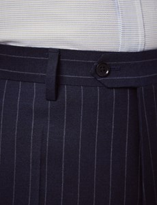Men's Navy Chalk Stripe Slim Fit Suit Pants