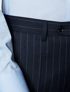 Anzughose - Slim Fit - Marineblau mit Kreidestreifen - 100s Wolle - Ohne Bundfalte - Vorderhose Gefüttert - Ungesäumt