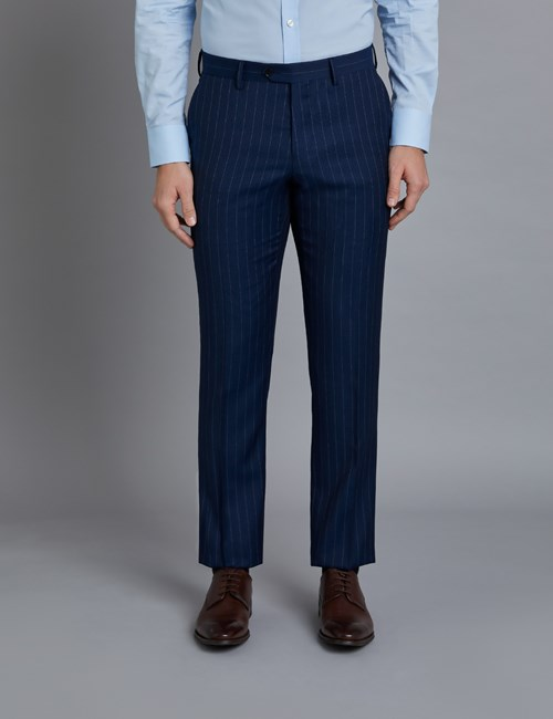 Men's Dark Blue Pinstripe Classic Fit Suit Trousers