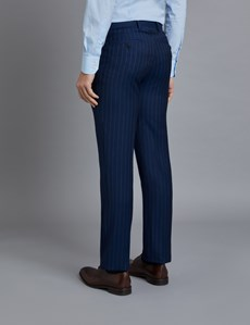 Men's Dark Blue Pinstripe Classic Fit Suit Trousers