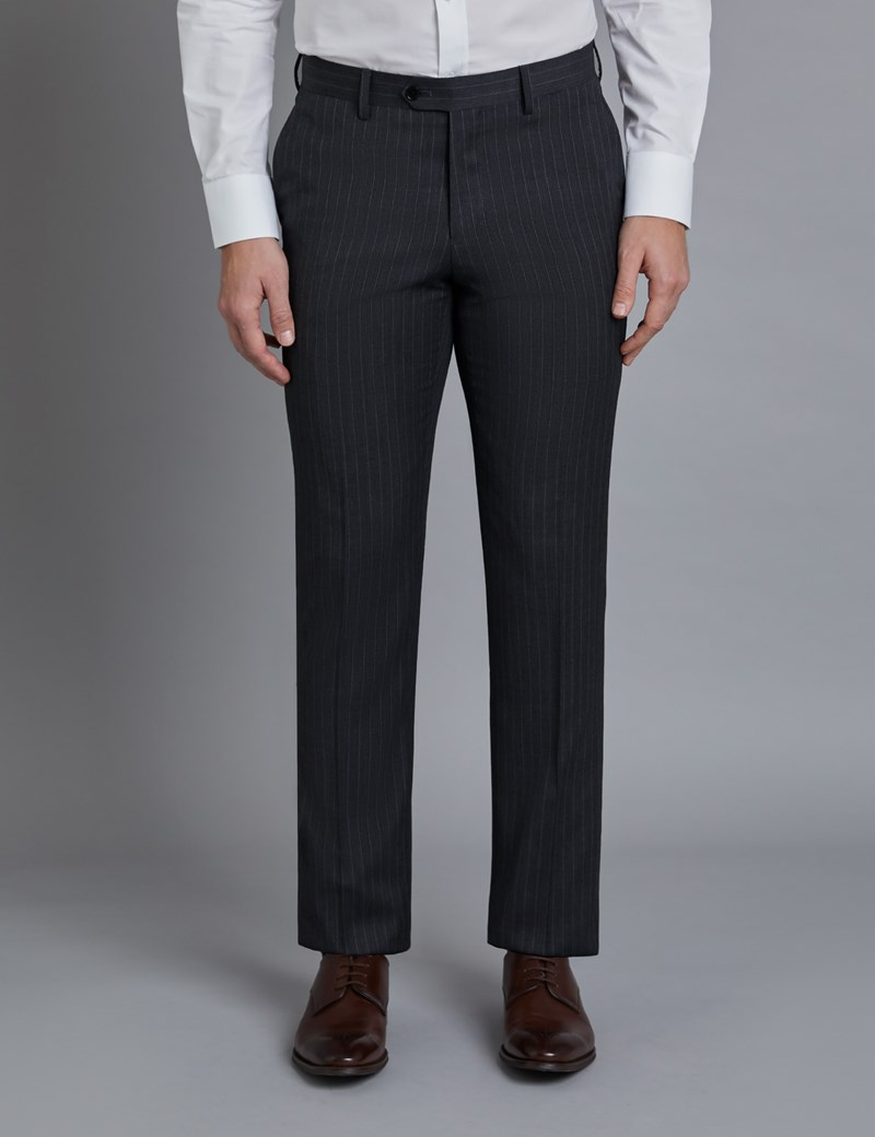 Men's Dark Grey Stitch Stripe Classic Fit Suit Trousers