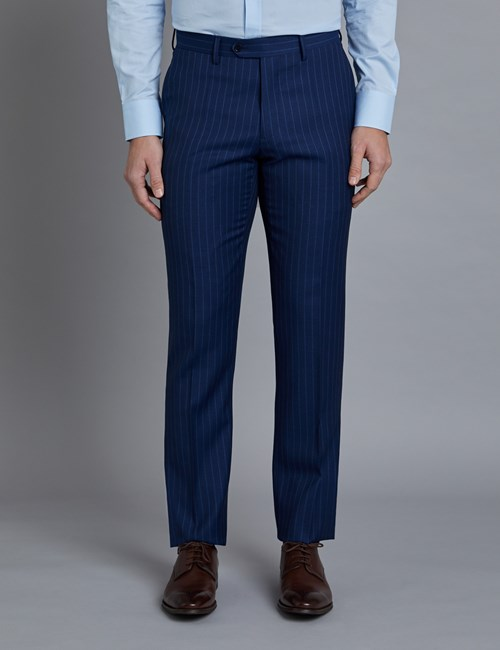 Men's Indigo Tonal Mid Stripe Slim Fit Suit Trousers