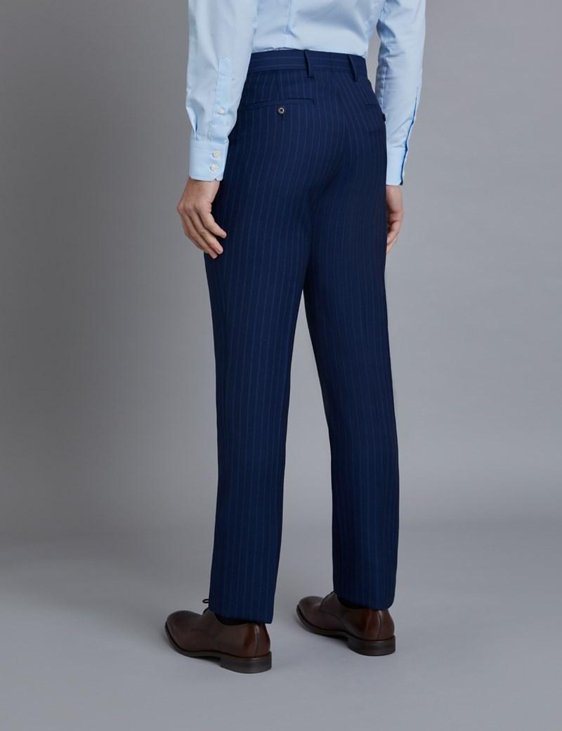 Anzughose - Slim Fit - Indigo gestreift - 100s Wolle - Ohne Bundfalte - Vorderhose gefüttert - Ungesäumt