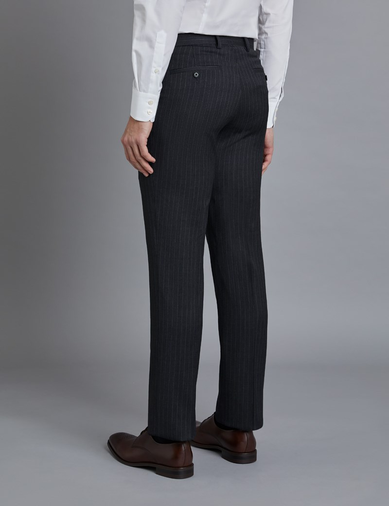 Anzughose - Slim Fit - Dunkelgrau mit Zierstreifen - 100s Wolle - Ohne Bundfalte - Vorderhose gefüttert - Ungesäumt