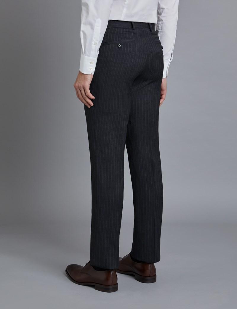 Men's Dark Grey Stitch Stripe Slim Fit Suit Trousers