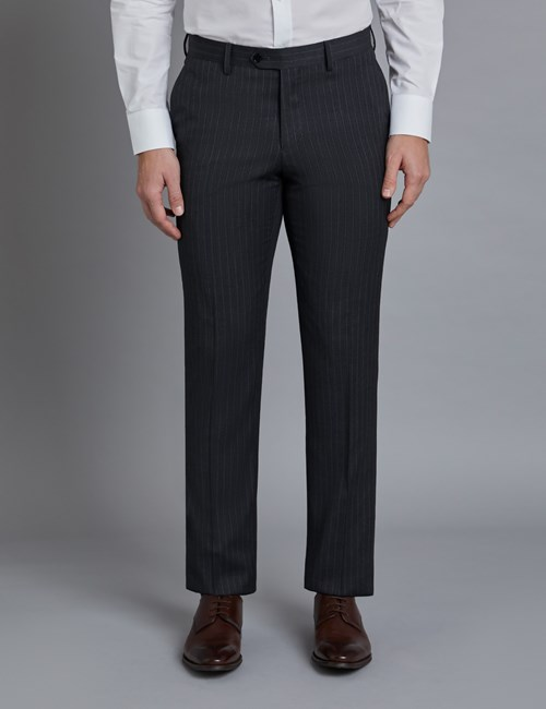Men's Dark Grey Stitch Stripe Slim Fit Suit Trousers