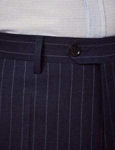 Anzughose - Classic Fit - Marine mit Kreidestreifen - 100s Wolle - Ohne Bundfalte - Vorderhose Gefüttert - Ungesäumt
