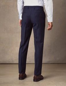 Men's Navy Chalk Stripe Classic Fit Suit Trousers