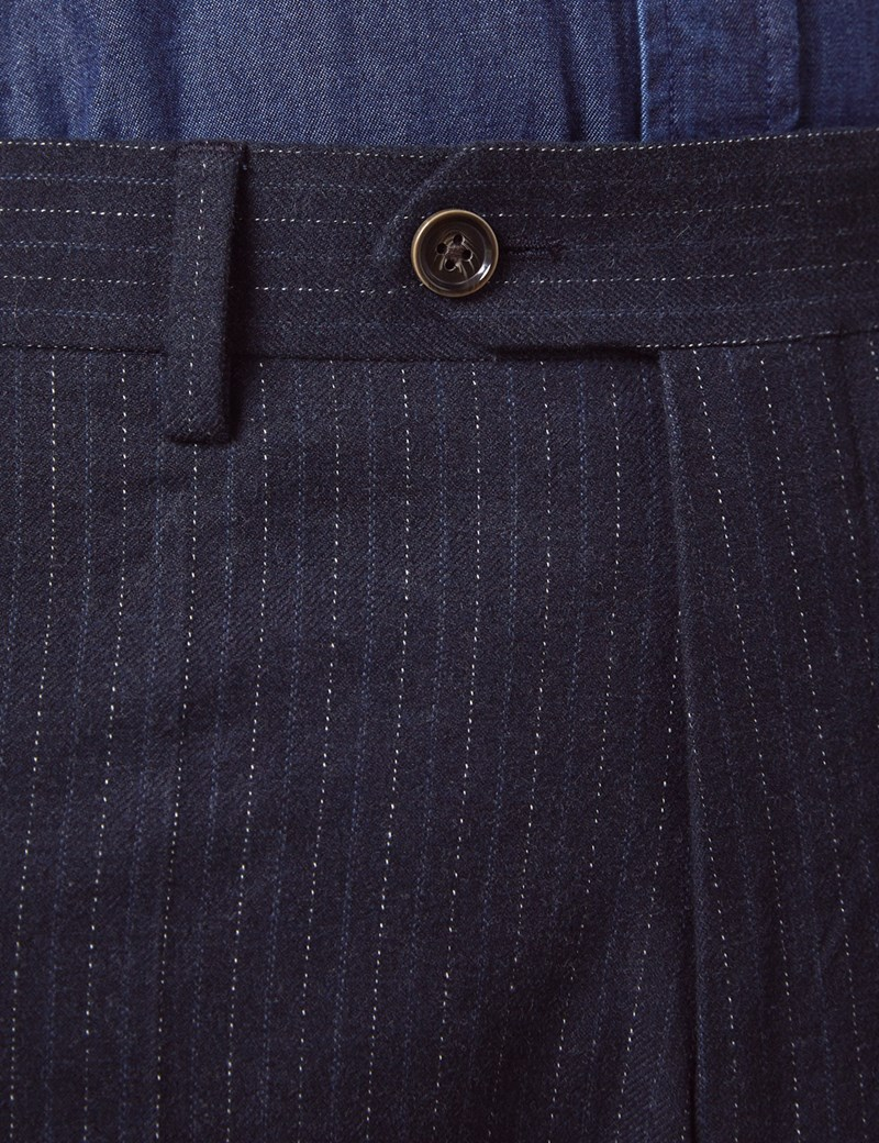 Men's Navy Stripe Soft Cotton Trousers
