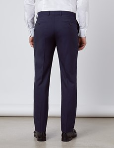 Men's Navy Tonal Stripe Slim Fit Suit Trousers