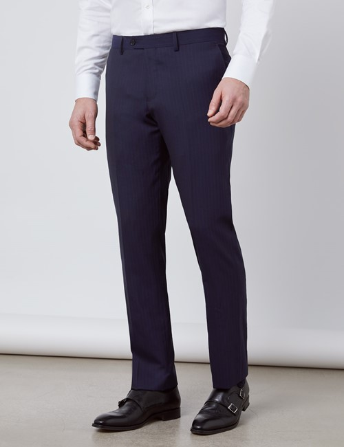 Men's Navy Tonal Stripe Slim Fit Suit Pants