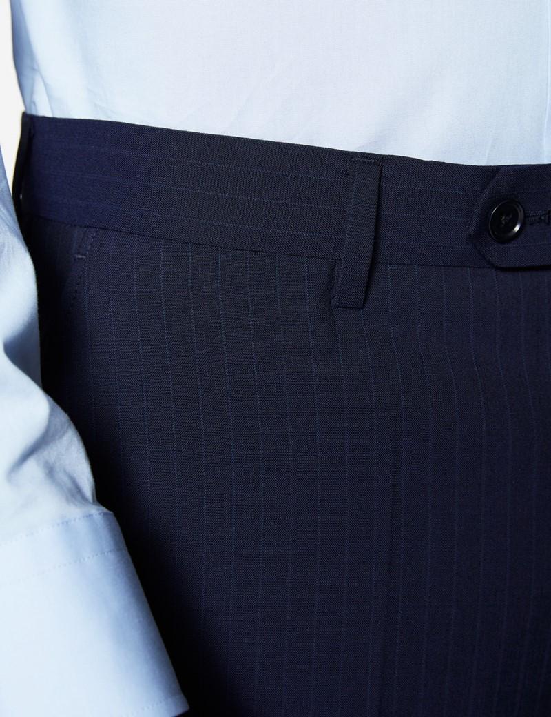 Men's Navy Tonal Stripe Slim Fit Suit Trousers