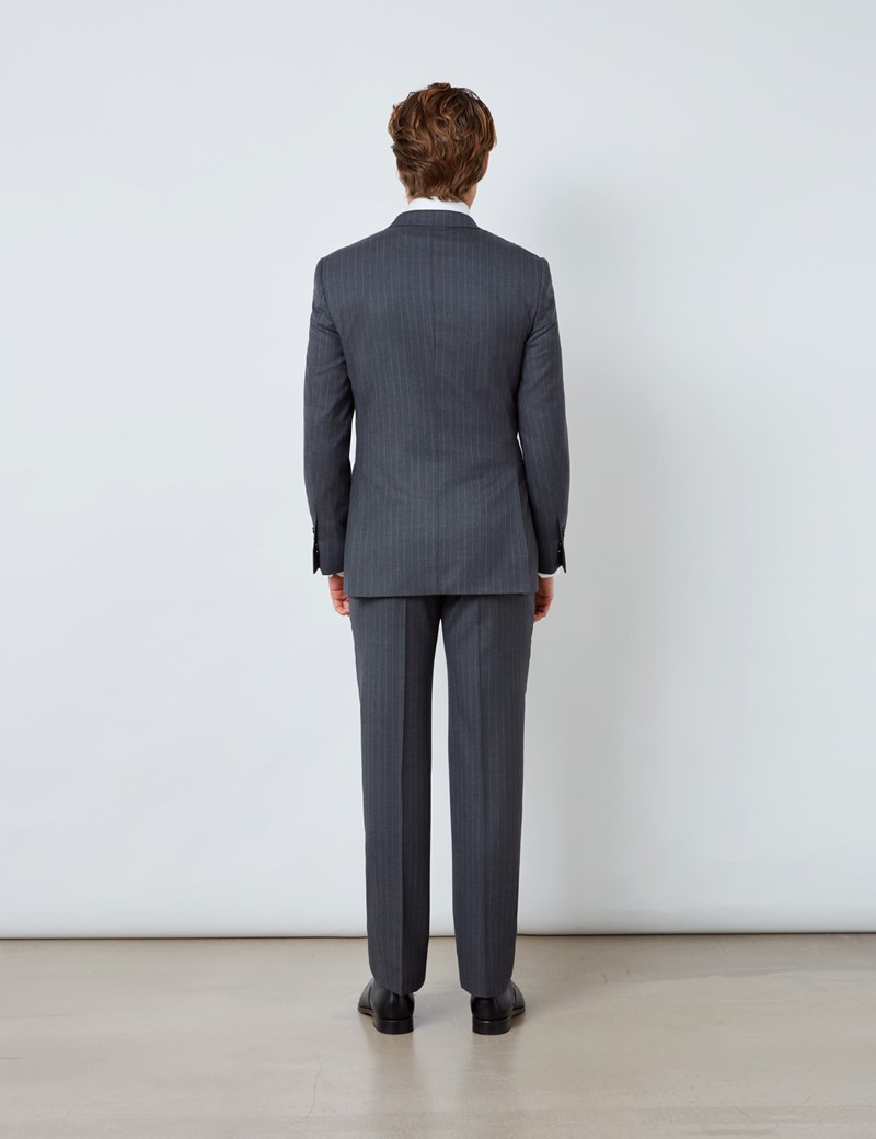 Men's Dark Grey Stripe Double Breasted Slim Fit Suit Trousers
