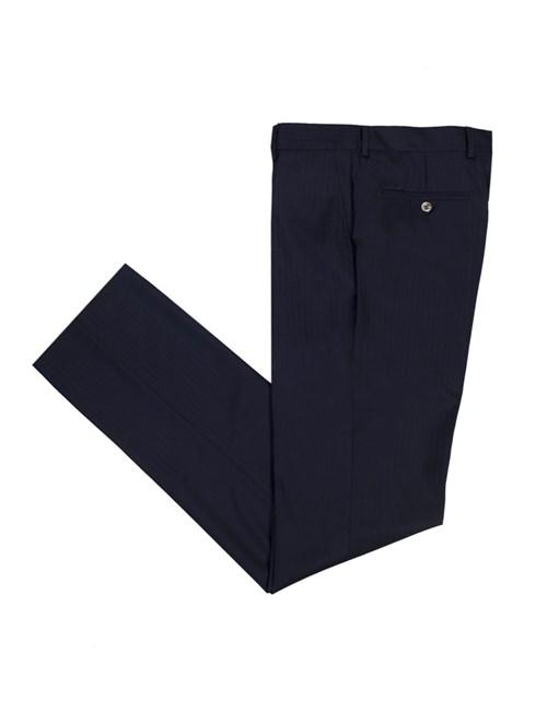 Men's Navy Herringbone Stripe Tailored Fit Italian Suit Pants - 1913 Collection