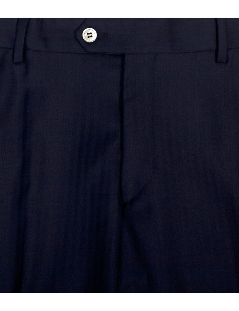 Men's Navy Herringbone Stripe Tailored Fit Italian Suit Trouser - 1913 Collection