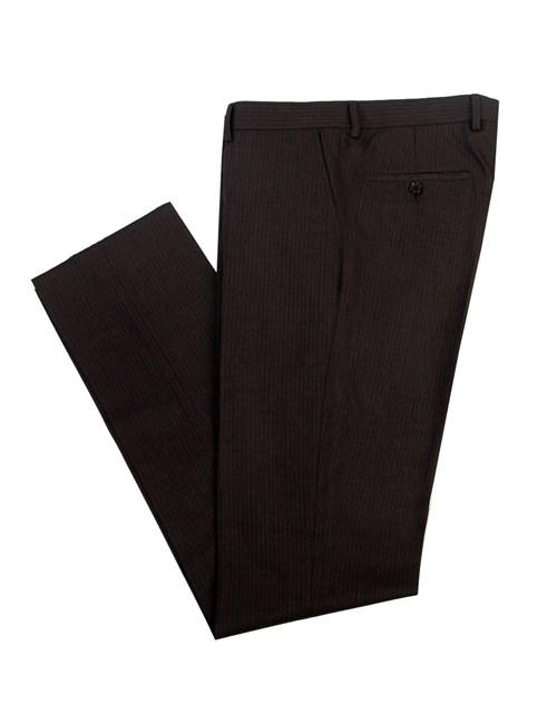 Men's Charcoal & White Small Stripe Slim Fit Suit Trouser