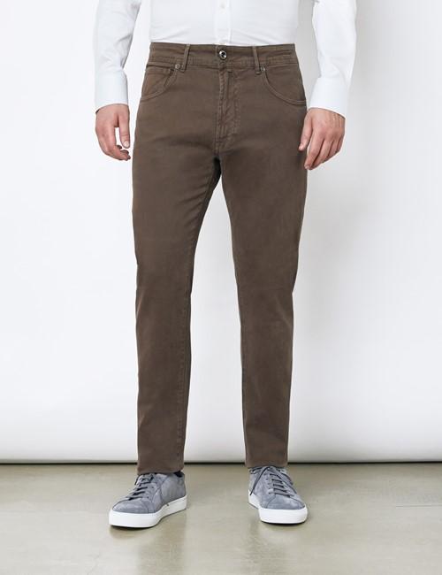 Men's Italian Brown Garment Dye 5 Pocket Trousers