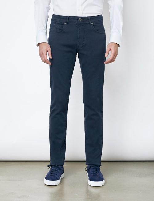 Herren Hose – 5-Pocket – Baumwollstretch – Garment Dye – Navy
