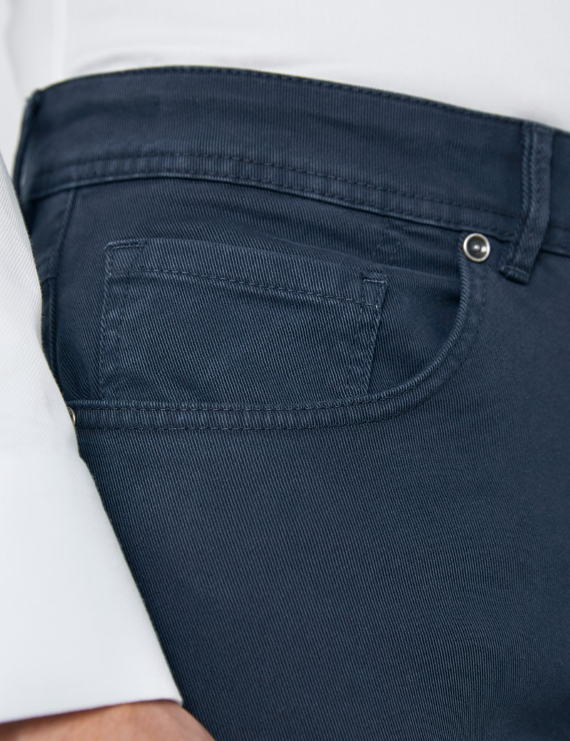 Herren Hose – 5-Pocket – Baumwollstretch – Garment Dye – Navy